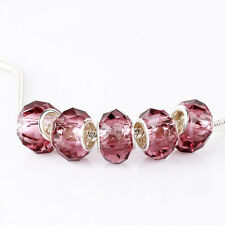 5pcs Crystal MURANO Glass Beads Fit European Charm Bracelet Chain