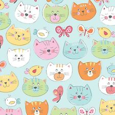 Fabric Cats Faces on Blue Flannel by the 1/4 yard BIN