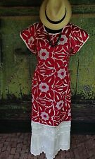 Red & White Hand Embroidered Huipil Dress Jalapa Oaxaca Mexico Hippie Santa Fe