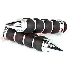 Chrome Spike 1 Inch Handle Bar Hand Grips for Harley Cruiser Chopper Custom Bike