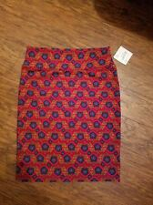 NWT Size XL LuLaRoe Cassie Skirt *Red with blue flowers