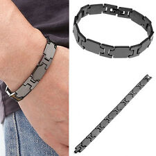 Men's 10mm Black Stainless Steel Link Chain Bracelet Cuff Wristband Bangle Gift