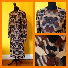 Vintage années 60 années 70 psychédélique abstract lurex midi dress uk 12/14 mod carnaby
