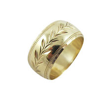 9ct Yellow Gold Leaf Pattern Ornate Wide Wedding Band Ring 7.4 Grams Size P