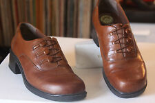 Earth Shoe Sophia Brown Leather Elastic Lacing 1 1/2 Inch Heel Oxfords Size 8