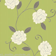 Debona - Wallpaper, Green w/ Beige Flower, Floral Design, Leaf BNIB Puccini 5567