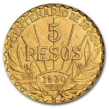 Uruguay 1930 5 Peso Gold Coin .2501 oz - AU or BU - SKU #14243