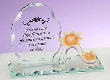 Sculpted Glass FRIENDS ARE LIKE FLOWERS Plaque w/ Sunflower Poem Unison Gift