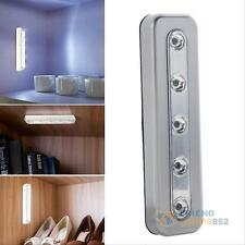 5 LED Touch Night Light Home Kitchen Closet Under Cabinet Push Tap Stick On Lamp