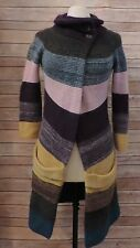 THEORY P Tall PT CASHMERE Blend Striped Colorblock Cardigan Sweater CHUNKY Knit