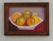 Miniature Dollhouse Fruit Oil Painting Lemons in Bowl 1:12 Scale Signed