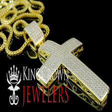 PURE ITALIAN SILVER YELLOW GOLD FINISH LAB DIAMOND JESUS CROSS PENDENT CHARM
