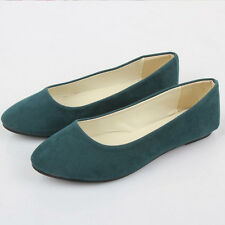 New Ladies Ballerina Microsuede Dolly Pump Womens Casual Slip On Flat Boat Shoes