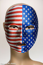Patriotic Mardi Gras Face Mask Fabric Stars & Stripes Frontal Mask With Elastic