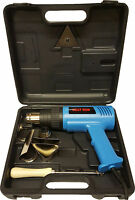 HOT AIR HEAT GUN 2000W WALL PAPER PAINT STRIPPER +TOOLS + BLOW CASE BOX