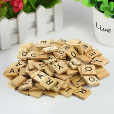 100 Wooden Alphabet Scrabble Tiles Black Letters & Numbers For Crafts Wood DIP