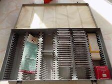 LOGAN 110 Metal Slide File Box Holds 150 Slides or 2x2 Coin Mounts + 20 Mounts