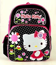 "Hello Kitty* Flowers Girls 16"" Black Pink Large school backpack-2811"