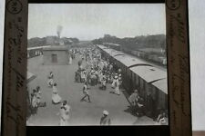 INDE GARE TRAIN HINDOUX FETES TIRUVANNAMALAI  PHOTO PLAQUE DE VERRE MOLTENI