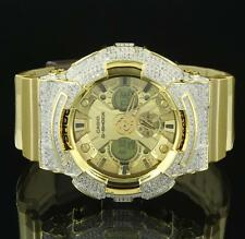 Gold Dial G-Shock Watch Metallic Gold Band Analog Lab Diamonds Iced Out Mens