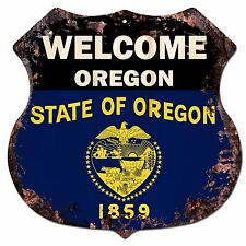 BP-0072 WELCOME OREGON State Flag Shield Chic Sign Bar Shop Home Decor Gift