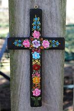 Multi-Color Floral Cross Lacquered Hand painted Devout Mexican Folk Art Chiapas