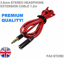 1.2m Red & Gold 3.5mm Jack Extension Cable Headphone Stereo Plug Iphone Ipod MP3