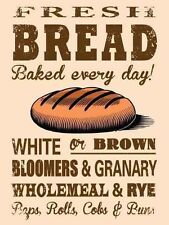 New 30x40cm FRESH BREAD BAKED EVERY DAY vintage enamel style metal sign