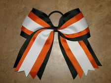 "NEW ""ORANGE BLACK WHITE"" Cheer Hair Bow Pony Tail 3 In Ribbon Girls Cheerleading"