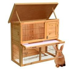 "36"" 2 Tier Wooden Rabbit Hutch Bunny Guinea Pig Poultry Pet House Cage hut US"