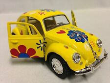 1967 Classic Volkswagen VW Beetle 1:32 Diecast Pull Back To Go Toys Yellow Print
