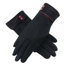 US Women's Suede Outdoors Sport Warm Ski Glove Motorcycle Driving Gloves Mittens