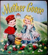 MOTHER GOOSE ~ Antique 1950's Children's Nursery Board Book