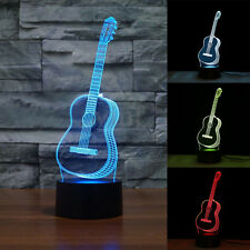 25.7cm 3D Creative Desk Lamp Guitar Shape Plastic Base USB Cable Night Light JJ