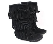MINNETONKA Moccasin 1639 Black Leather 3 Layer Fringe Mid Calf Boots Women 6