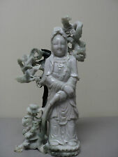 "19TH C. ANTIQUE CHINESE HAND CARVED JADE ""KWAN-YIN"" / ""QUAN YIN""  FIGURINE"