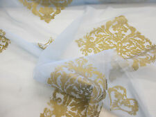 Light Blue & Gold Baroque Printed Organza Curtain fabric. 152cm wide.