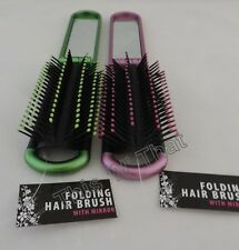 2 New Folding Hair Brush With Mirror Pocket Compact Size Travel Car Purse Bag