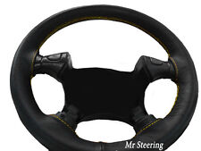FITS FORD MUSTANG 4 BLACK GRAIN LEATHER STEERING WHEEL COVER YELLOW STITCH 94-04