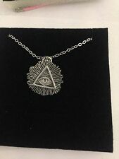 """All Seeing Eye R59 Emblem Silver Platinum Plated Necklace 18"""""""