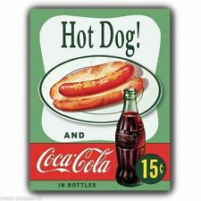 PLACCA di Metallo Segno Muro-HOT DOG e COCA COLA-VINTAGE con Poster Art Print