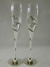 Wedding Engagement Toasting Glasses Champagne Flutes Crystal Diamante Hearts