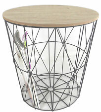 Loft Style Modern Metal Geometric Side Lamp Bedside Table Wooden Removable Lid