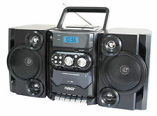 PORTABLE MP3 CD PLAYER CASSETTE RECORDER AM/FM RADIO BOOMBOX AC/DC REMOTE USB-IN