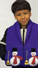 FUN Kid's Snowman Scarf/Apparel/ Crochet Pattern INSTRUCTIONS ONLY