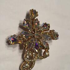 Vtg Aurora Crystal Snowflake Pin Kite Shaped Stones Gold Tone Frame Pave Swirl