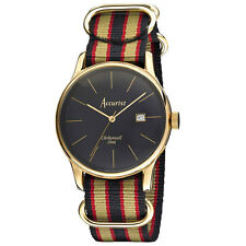 Mens Accurist Vintage stripe canvas strap watch MS433B