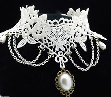 9L Bridal Gothic Victorian Romance Ivory White Lace & Bead Drop Choker Necklace