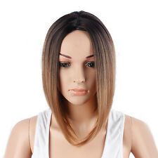 MIXED COLOR SHORT SYNTHETIC HAIR LACE STRAIGHT FULL WIG GRADIENTCOSPLAY NEW HOT
