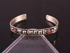 Tibetan Dotted 2 Red Coral Gemstone Inlay Carved OM Mani Padme Hum Cuff Bracelet